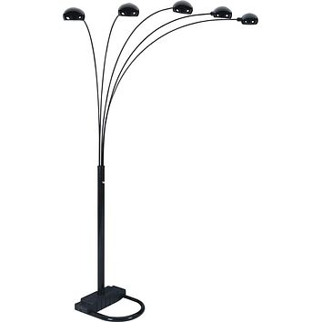 5 Armed Arc Floor Lamp With Adjustable Domes In Black