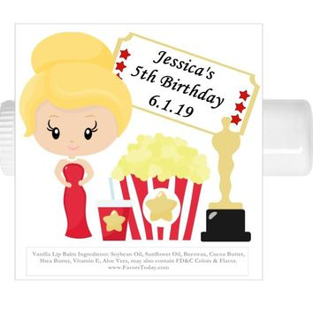 15 Movie Night Oscars Birthday Party Lip Balm Favors Blonde Hair