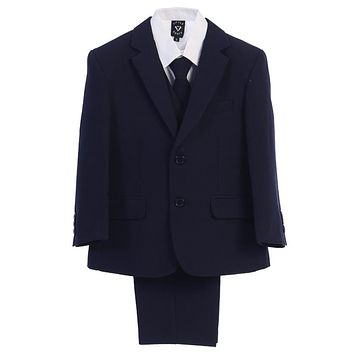 Navy 5pc Husky Boys Two Button Suit with Vest 8H-20H