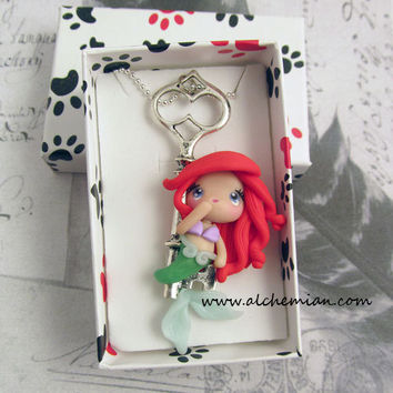1lucky Siren mermaid with key ooak necklace made by AlchemianShop