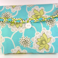 Flat Bottom Cosmetic Pouch Foldover Clutch Bridesmaid Gift Make Up Bag Classy Sophisticiated, Amy Butler Flowers Turquoise Lime - Pochette
