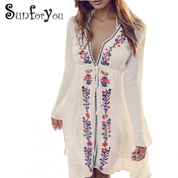 Embroidery Beach Cover up 2017 Swimsuit cover up Tunics for Beach Pareos Robe de Plage Cotton Bathing suit Cover ups Beachear