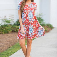 Midtown Muse Dress, Rust