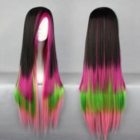 Top quality Heat Resistant Synthetic 80cm long Cosplay Lolita Harajuku Wig,Colorful Candy Colored synthetic Hair Extension Hair piece 1pcs WIG-286E