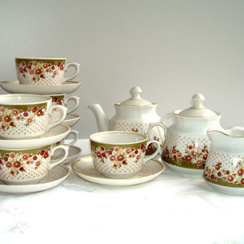 Vintage Coffee Tea Set for six persons 15 pieces White brown green porcelain cups RPR Riga porcelain 1980 s Soviet russian USSR era
