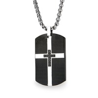 Men's Stainless Steel Black Dog Tag Pendant Necklace with Cross CZ Pave Design