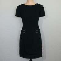 90s Black Dress Size 4 Short Sleeve Short Black Dress Minimalist Dress 1990s Dress Fitted Office Dress FREE SHIPPING Small Womens Clothing