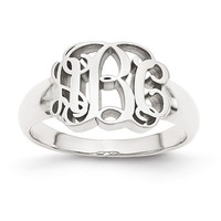 Monogram Signet Ring in Sterling Silver or White Gold