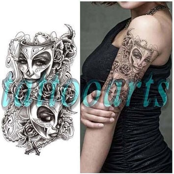 The phantom of the opera mask design temporary tattoo waterproof arm leg shoulder body art sticker #10631