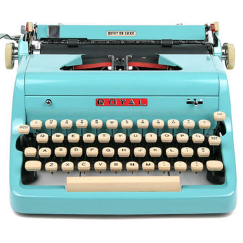1957 Turquoise Royal Quiet De Luxe Typewriter, Professionally Serviced, Royal Typewriter, Working Typewriter, Blue Typewriter, Writer Gift