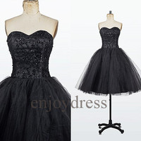 Custom Black Beaded Short Bridesmaid Dresses 2014 Lovely Ball Gowns Party Dress Fashion Wedding Party Dress Evening Dresses Homecoming Dress