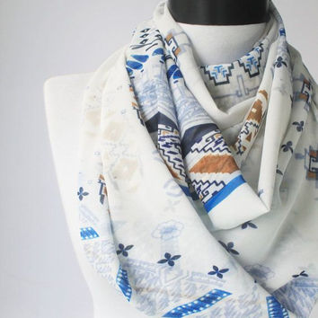 tribal white scarf,infinity scarf, scarf, scarves, long scarf, loop scarf, gift