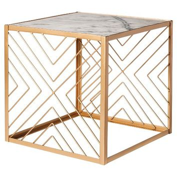 Nate Berkus Square Gold Accent Table with Marble Top