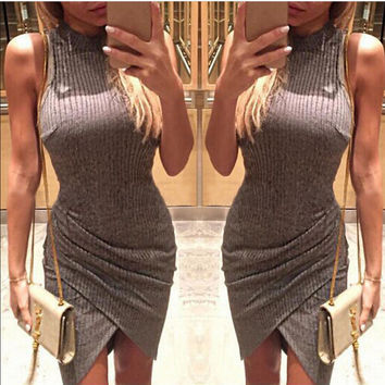 Fashion Solid Color Stripe Turtleneck Sleeveless Irregular Pack-hip Mini Dress
