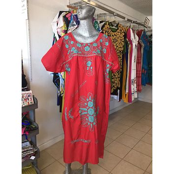Mexican Handmade Traditional Dress Red w.Teal/Plus Size