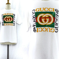 Vintage 90s Bootleg GUCCI Screen Stars Puffy Lettering Hip Hop Rap T Shirt Sz L
