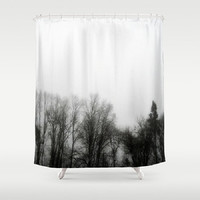 Fog, Mist, Misty, Trees, Eerie, B&W, Morning-Decorative Shower Curtain-Machine Washable - Decor, New Home or Apartment -Made To Order-MMF#85