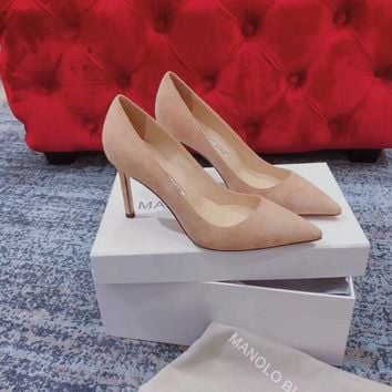 DCCK 1620 MANOLO BLAHNIK MB Fashion Suede High-heeled Shoes Heel 8cm Khaki