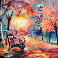 "Frozen Park — PALETTE KNIFE Abstract Landscape Oil Painting On Canvas By Leonid Afremov - Size: 30"" x 24"""