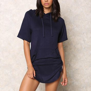Causal Hooded Loose Large Size T Shirt Dress 11874