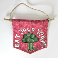 Spring Wall Flag // Give Peas a Chance // Hand-Painted Wall Hanging // Pennant // Farmers' Market Decor // Vegetarian // Shop Local