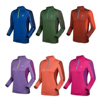 Tectop 2018 NEW Women's Men's Summer Long Sleeve Tees With Zipper Hot T-Shirts Outdoor Quick dry Hiking Sports Clothes RW016