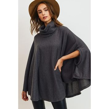 Cowl Neck Poncho Top - Olive