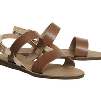 Office Honey Sling Back Sandals Tan And Rose Gold - Sandals