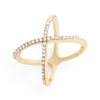 Junior Women's BP. Rhinestone Crossover Ring