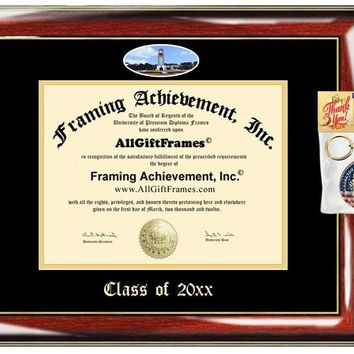 AllGiftFrames Custom Diploma Frame Embossed College Best Graduation UAFS Degree Frame Double Mat Campus Fisheye Picture Frame Cheap University Arkansas Fort Smith Gift