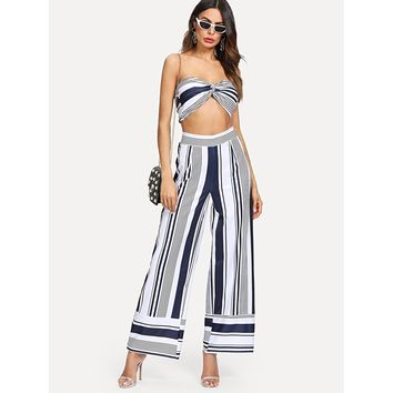Striped Crop Tube Top With Pants