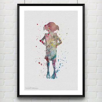 Harry Potter Poster, Dobby Watercolor Art Print, Kids Room Wall Art Print, Minimalist Home Decor, Not Framed, Buy 2 Get 1 Free! [No. 06]