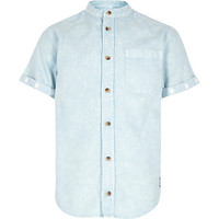 River Island Boys blue acid wash collarless shirt