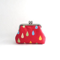 Frame Coin Purse- mini jewelry case with ring pillow- rain drop on red