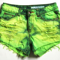 MADE TO ORDER / Custom Order / neon green dip dyed / denim cutoff shorts