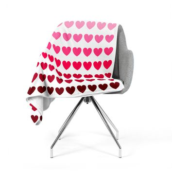"NL Designs ""Pink Hearts"" Maroon Love Fleece Throw Blanket"
