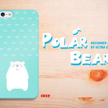 iPhone 5s case cute iphone 5c case polar bear, iPhone 5 case cyan, iphone 5 / 5c /5s  case cover