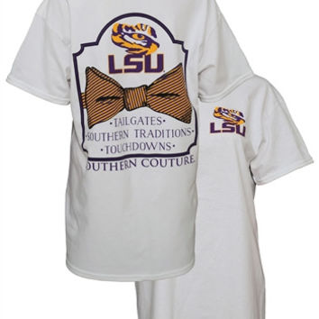 Southern Couture LSU Tigers Classic Bow University of Louisana Girlie Bright T Shirt