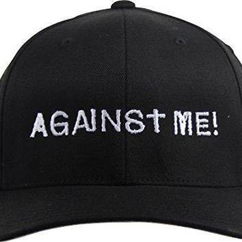 Against Me - Mens Embroidered Logo Flexfit Hat, Size: Small/Medium, Color: Black