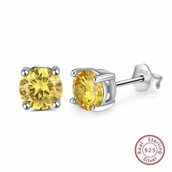 Cz Prong Setting Silver Studs Earrings