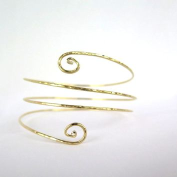 Brass upper arm coil, triple wrap gold armlet