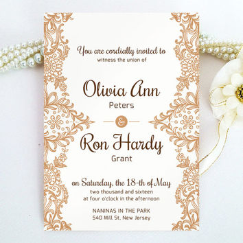 Lace wedding Invitation printed on luxury cream or white pearlescent paper - Brown wedding invitation