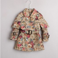 Vintage Inspired Girls Clothes floral little girls Khaki Cotton Trench Coat   Vindie Baby