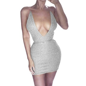 Summer Deep V Neck Autumn Silver Sequined Backless Sexy Dress Women Off Shoulder Mini Dress Party Club Strap Dresses Vestidos A4