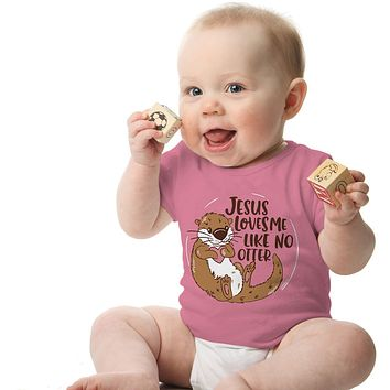 Kerusso Jesus Loves me Like No Otter Christian Baby Toddler Youth Bright T Shirt