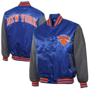 New York Knicks Majestic Hook Full Button Satin Jacket - Royal Blue/Charcoal