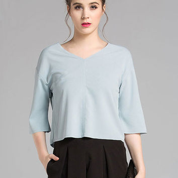 Fashion V-neck Half Sleeve Loose Chiffon Blouse