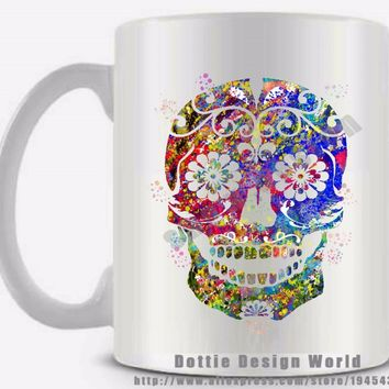 New Mexican Sugar Skull Ceramic coffee tea milk mug cup funny novelty travel mug personalized Birthday Mothers day gifts
