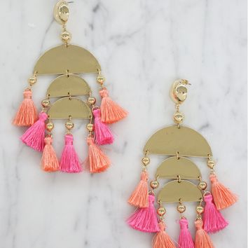 Tropical Dream Earrings in Pink, Peach and Gold