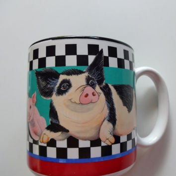 Vintage Sue E. Pigg - Pig Family - Ceramic Coffee Mug 1994